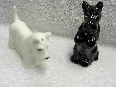 Scotty Scottie Dog Black And White Salt And Pepper Shakers