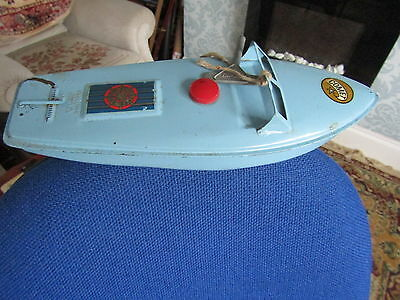 Vintage Clockwork Toy Boat Named Comet In Blue Made By Sutcliffe. With Key.