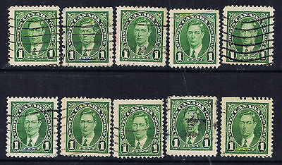 Canada #231(6) 1937 1 cent green King George VI 10 Used