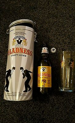 MADNESS Gladness Craft Lager Limited Edition Glass Tin Bottle two tone christmas