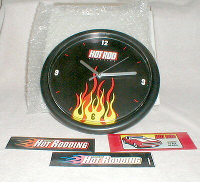 """Collectible Hot Rod Magazine Flames 10"""" Clock with extra Decals- New In Box"""