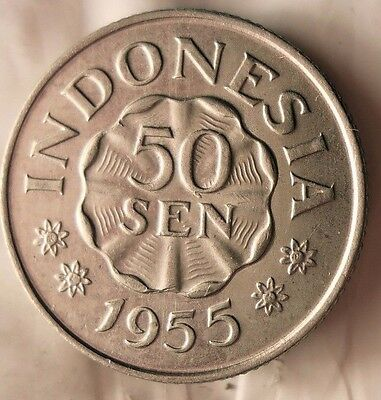 1955 INDONESIA 50 SEN - Great Collectible - FREE SHIPPING - Indonesia Bin A