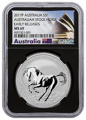 2017-P Australia Stock Horse 1 oz Silver $1 NGC MS69 ER Black Core SKU47775