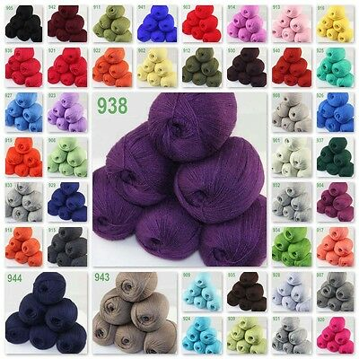 Sale Lot 6skeinsx50g LACE Soft Crochet Acrylic Wool Cashmere Hand Knitting Solid