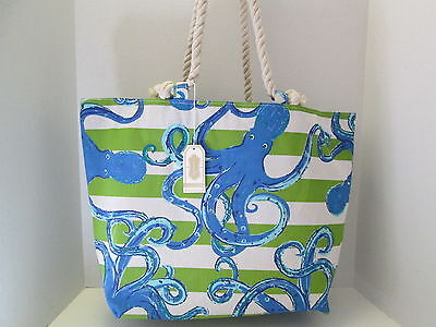Nautical Octopus Extra Large Canvas Tote Beach Bag by Mud Pie, NWT