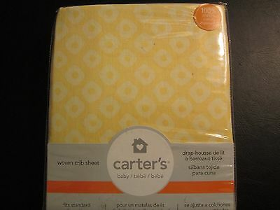 Yellow Cotton Woven Crib Sheet by Carter's, NWT