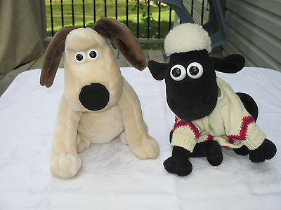 """Gromit & Shaun The Sheep Plush Dolls - 10"""" Tall - Excellent Condition!!!"""