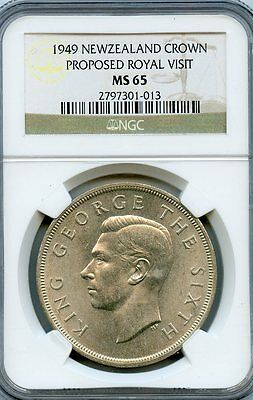 Fine 1949 NGC MS65 New Zealand Crown Proposed Royal Visit NC802
