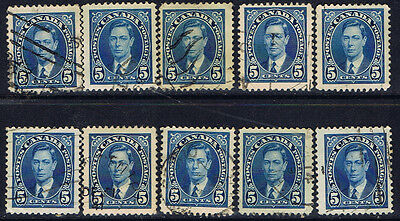 Canada #235(18) 1937 5 cent blue King George VI 10 Used