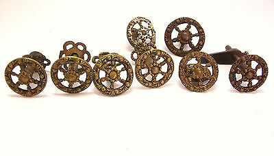 8 Antique Brass Drawer Pull Knobs Ornate Victorian One with Turn Buckle on Back