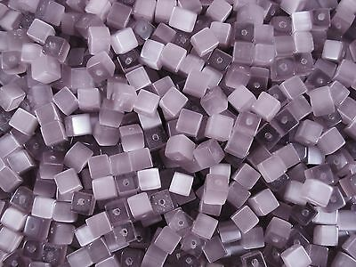 Cats Eye Glass Beads 6mm Cube Soft Lilac 75pc Jewellery Square FREE POSTAGE