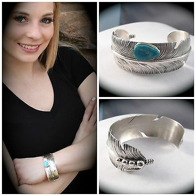 Navajo Stabilized Turquoise and Sterling Silver Feather Bracelet by Ben Begay