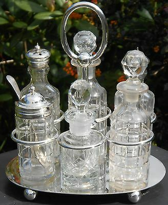 Antique 6 Bottle Cruet Set - Silver Plated - Sheffield