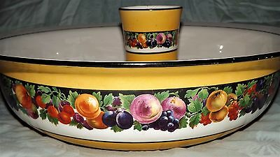 Vintage Large Wash Bowl And Matching Pitcher Mustard Floral Coloured Porcelain