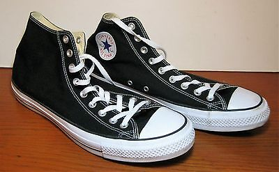 Converse All Star Chuck Taylor High Top Sneakers Black White Mens 15 Womens 17