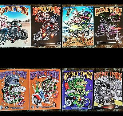 Lot of 6 Asphalt Fiends Coloring Book Rat fink hot rod art monster 2011 2012 +