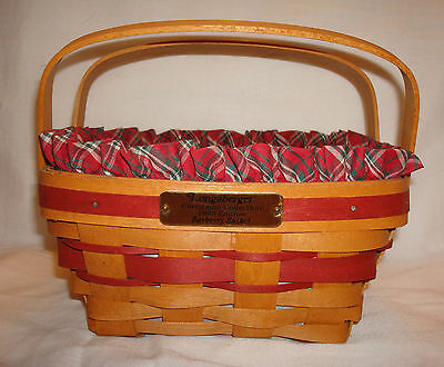 1993 Longaberger Christmas Collection Bayberry Handled Woven Basket w/Liners