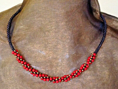 Handmade Hill Tribe Necklace Red and Metal Beads Rope Style Macramé with Bells