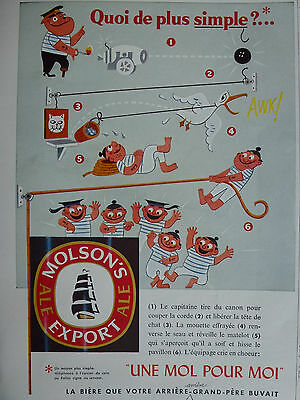 Molson's Export Ale 1956 Vintage Ad Comic Cartoon with Sailors French Publicity