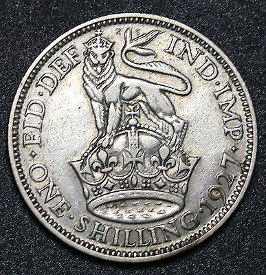 1927 UK Great Britain Silver Shilling KM# 833 George V Coin