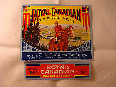 Royal Canadian Tom Collins Mixer bottle and neck label set