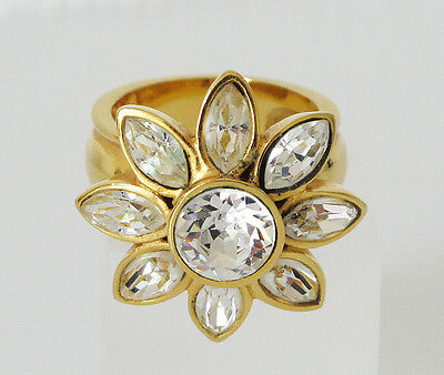 Yves Saint Laurent YSL Cocktail Ring Vintage Floral Clear Rhinestone size 7.75