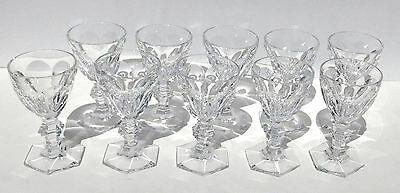 Baccarat Harcourt Port Wine French Cut Crystal Stemware Wine Glasses Set 10