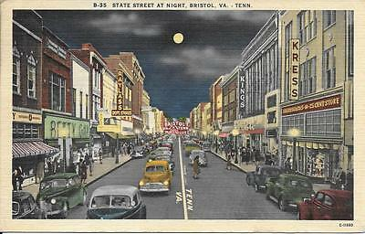 State Street @ Night West Virginia Tennessee nice postcard postally used in 1954