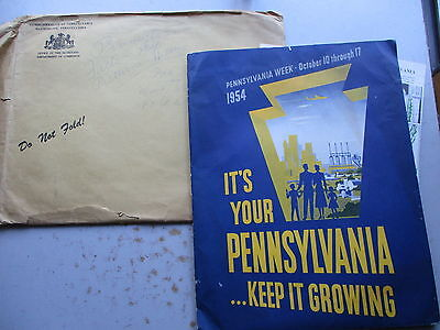 LARGE Promotional Pack of 1954 Pennsylvania Brochures, Bookets, Maps, More!