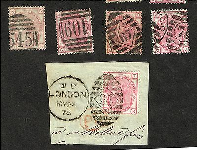 Great Britain Gb Victoria #61 X5 Fine Various Plates   (Fay12