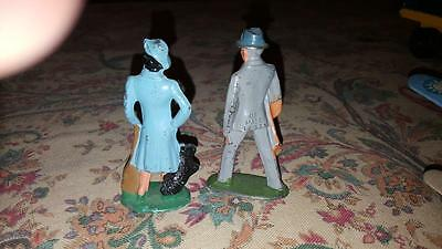 Vintage Lead Figures Man And Woman With Dog
