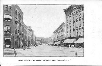 Merchants Row from Clement Bank Rutland VT nice postcard postally used in 1906
