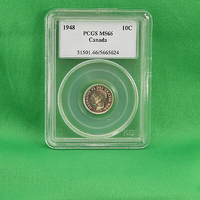Canada 1948 Silver Dime 10 Cents Graded PCGS MS66