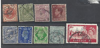 9 x Great Britain stamps with perfins  inc. POLY CF D G&G AP ABCL C ENGLAND UK