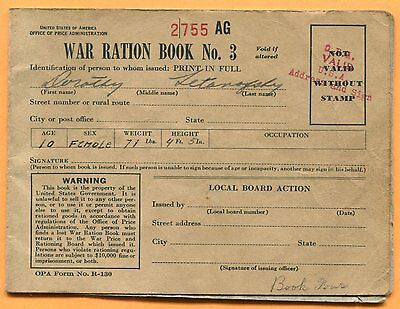 World War Two, War Ration Book Three with 4 Pages of Coupons