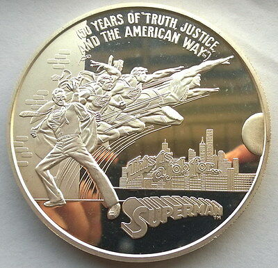 United States 1988 Supper Man 12oz Silver Medal,Rare!