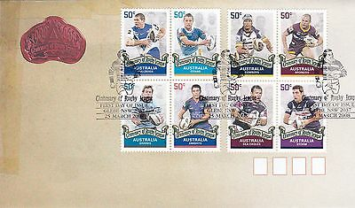 AUSTRALIA FDC 2008 CENTENARY OF RUGBY LEAGUE STAMPS UNUSED - no address