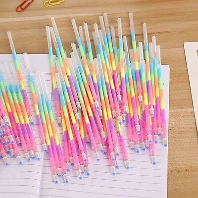 10Pcs 6in1 Color Colorful Highlighter Gel Pens Refills Student Office Stationery