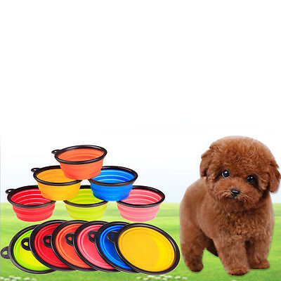 Folding Pet Silicone Feeding Bowl Food Water Dish Travel For Dog Cat Portable