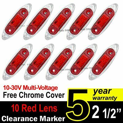 10X 12V 24V Red Truck Trailer Side 3 LED Marker Clearance Light Fish Chrome base