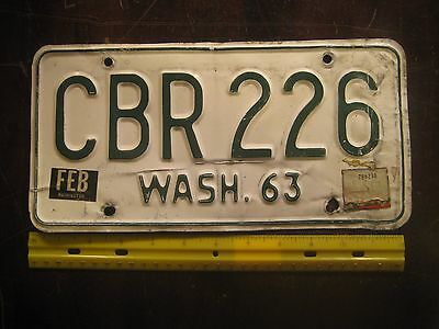 License Plate, Washington, 1963, Dealer, Green on White, CBR 226