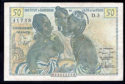 French West Africa, 50 Francs, 005341738, (1956), Fine.
