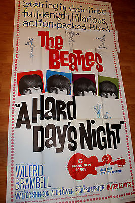 """A Hard Day's Night Beatles rare 41"""" by 81 """" condition 9-  1964 movie poster 3sh"""