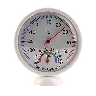 Round Thermometer Humidity Meter Room Car Temperature Indoor Hygrometer Clock