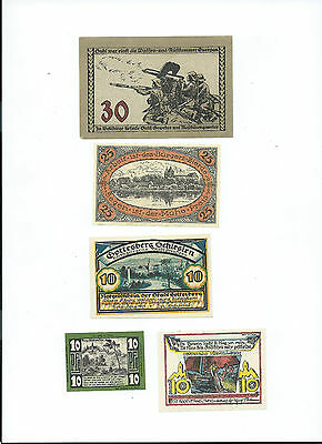 WW1 German Notegeld x 5