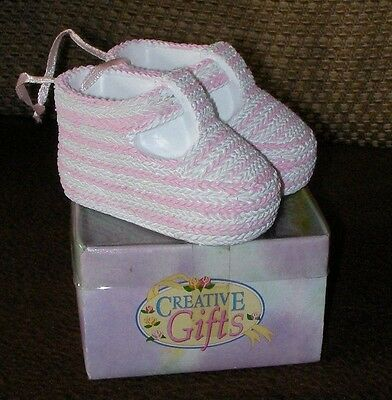Small Pink Baby shoes ornament, New in box
