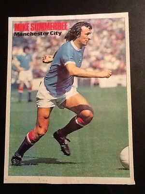 1973 A4 SHOOT Football picture/poster MIKE SUMMERBEE, Man City (creased)