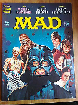 MAD, No 191, UK Issue, VINTAGE- priced at 30p, features STAR WARS.Movie Satire
