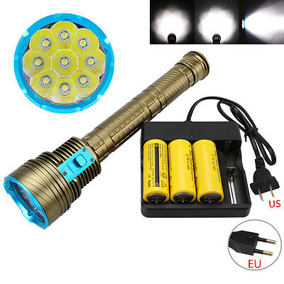 Dive 100m 20000LM 9x XM-L T6 LED 18650/26650 Diving Scuba Aluminum Flashlight