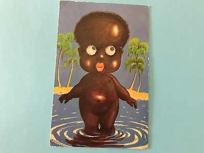 Comic Black Doll with Moving Eyes Postcard.